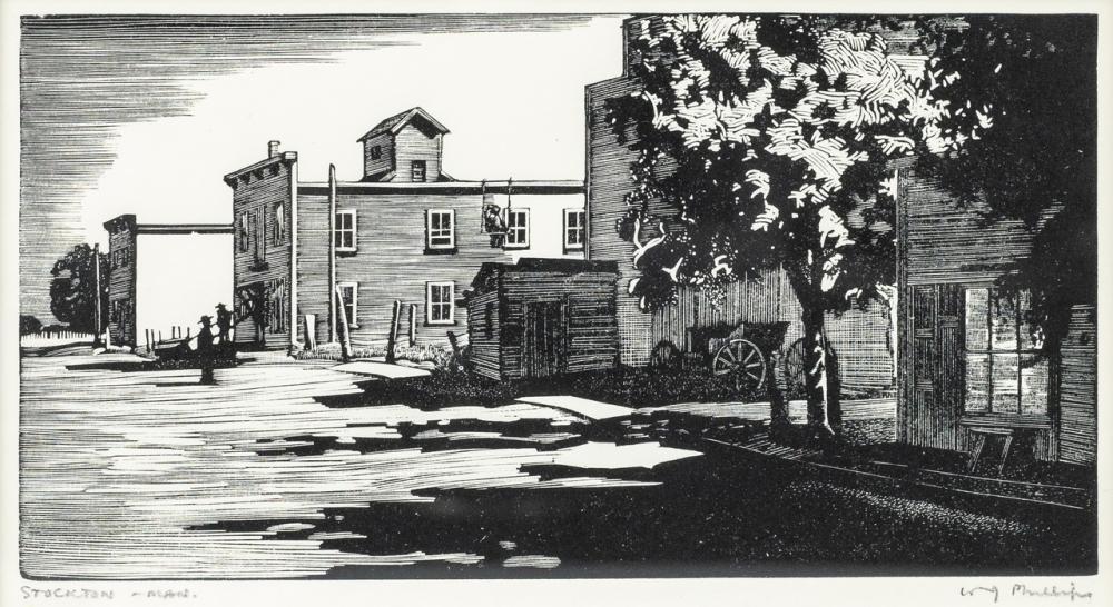 Walter Joseph Phillips, Canadian (1884 - 1963), Stockton - Manitoba, wood engraving, 3 5/8 x 7 in. (9.2 x 17.8 cm)