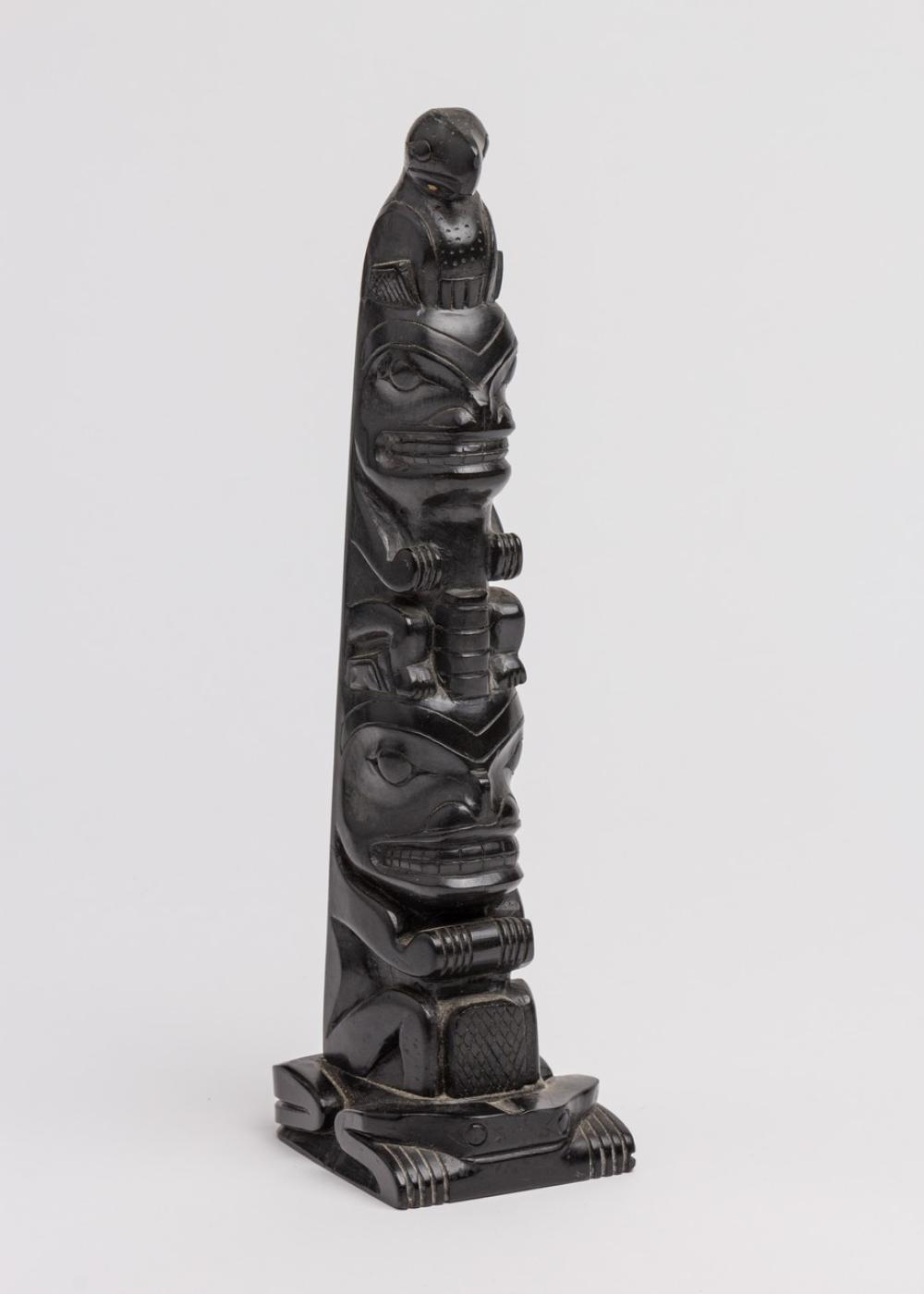 Henry Young, a carved argillite totem pole, 10 1/8 x 2 1/2 x 3 1/8 in. (25.7 x 6.3 x 7.9 cm)
