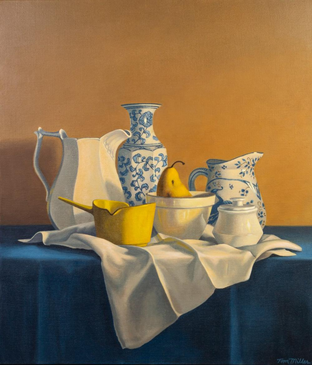 Tom Miller, Canadian, Still Life with Pear, acrylic on linen, 42 x 36 in. (106.7 x 91.4 cm)
