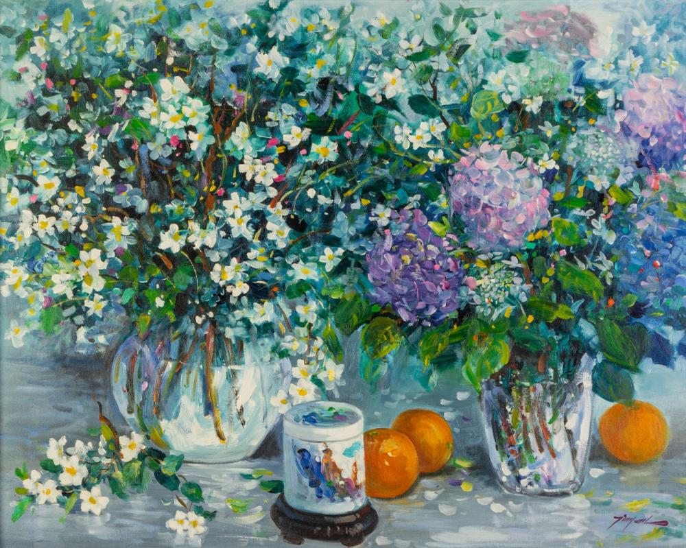 Tinyan Chan, Canadian (1942- ), Fresh Flowers, oil on canvas, 24 x 30 in. (60.9 x 76.2 cm)