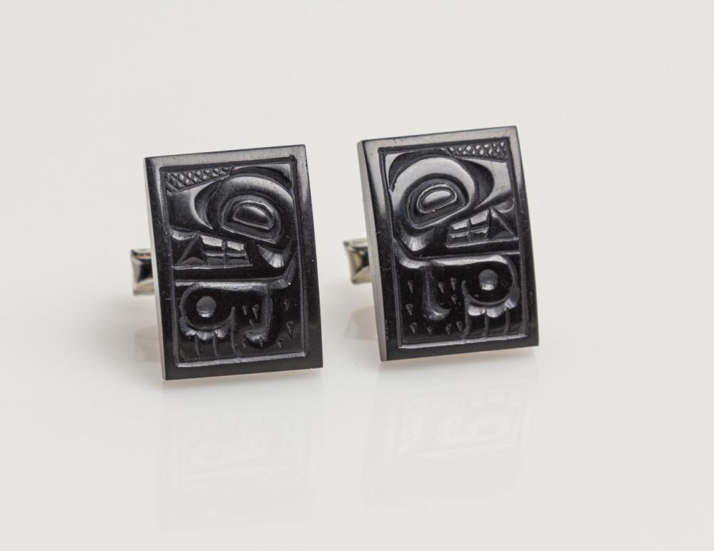 A pair of Denny Dixon carved argillite cufflinks,