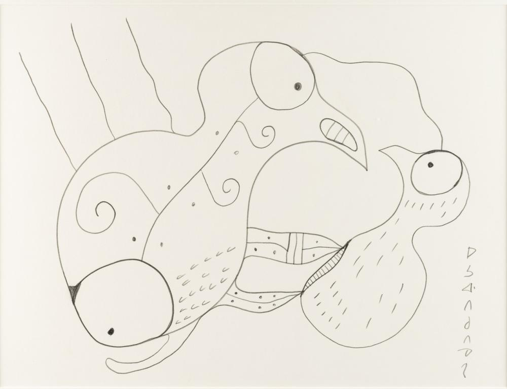 Norval Morrisseau, Canadian (1932-2007), Untitled-Birds, pencil, 12 x 16 1/8 in. (30.5 x 41 cm)