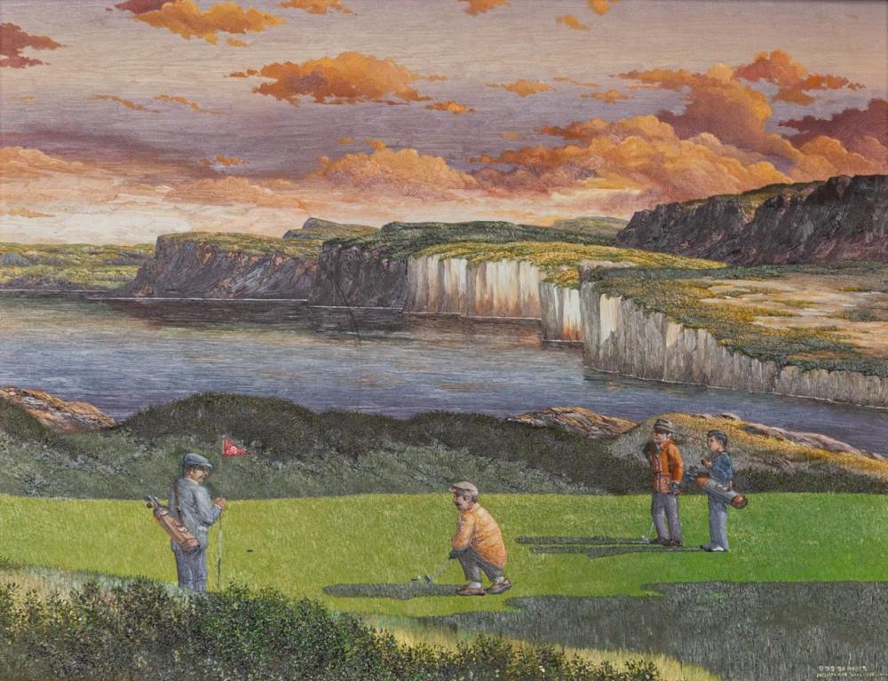Bob Barnes, Canadian (1953 - ), Golf in Ireland, oil on board, 11 x 14 in. (27.9 x 35.5 cm)