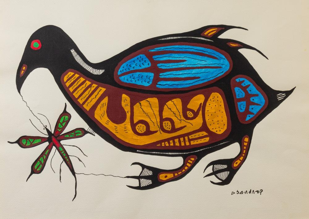 Norval Morrisseau, Canadian (1932-2007), Bird and Insect, acrylic on paper, 19 3/4 x 27 1/2 in. (50.2 x 69.9 cm) (unframed)