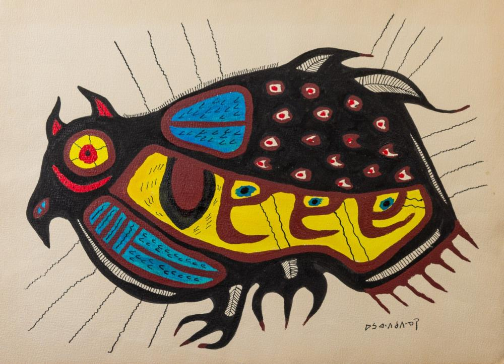 Norval Morrisseau, Canadian (1932-2007), Bird, acrylic on paper, 21 1/2 x 29 1/2 in. (54.6 x 74.9 cm) (unframed)