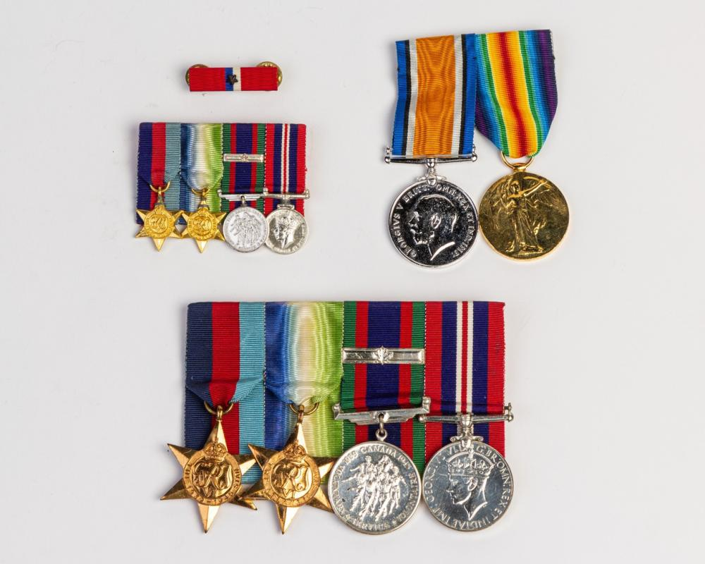 A collection of WW1 and WW2 medals and
