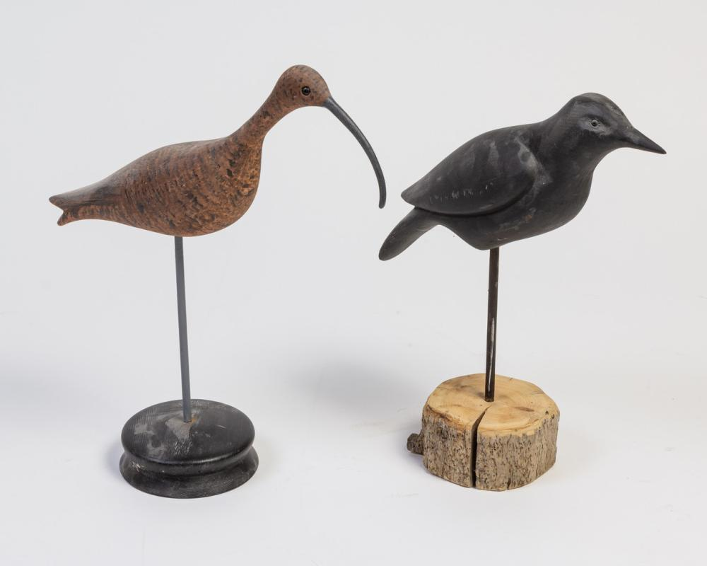 A Ken Kirby carved and painted Raven, 16 in. (40.6 cm) h.; 17 1/4 in. (43.8 cm) h.