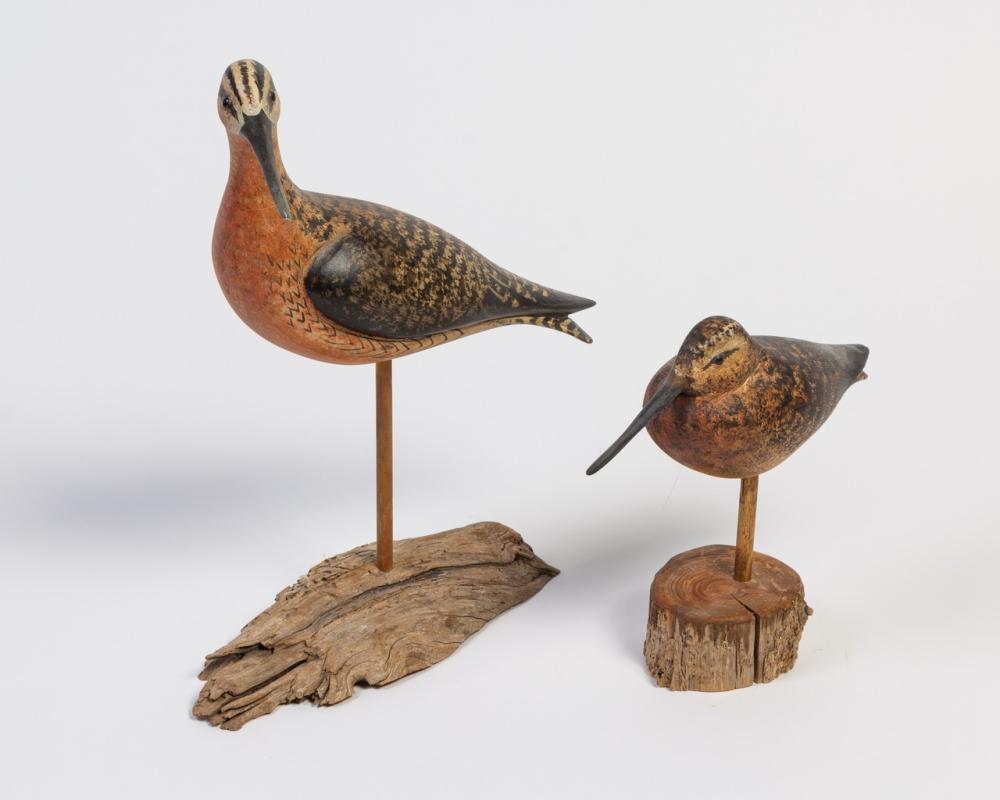 Two Ken Kirby carved and painted shore birds, 13 3/4 in. (34.9 cm); 8 3/8 in. (21.3 cm)