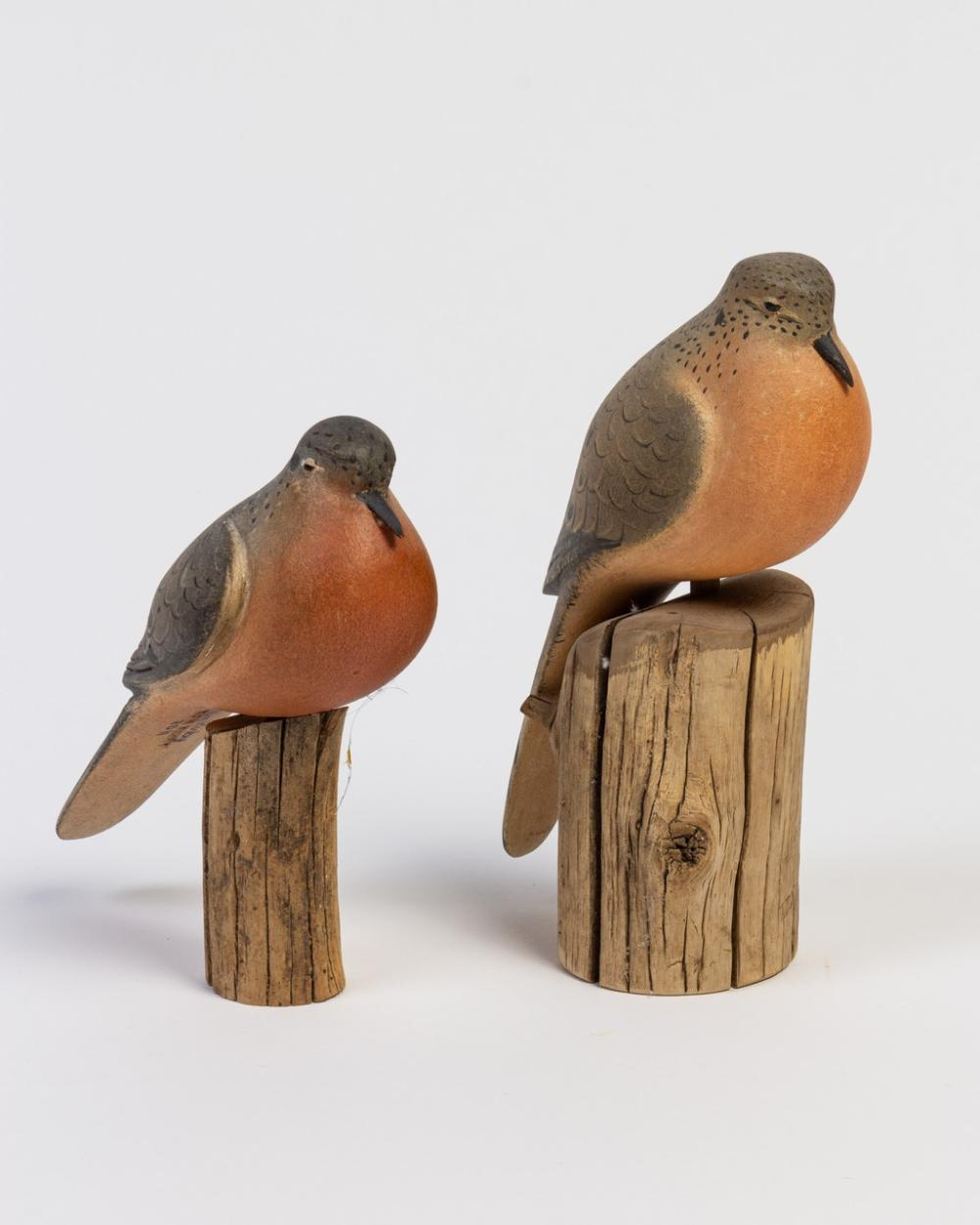 Two Ken Kirby carved and painted Morning Doves. 9 1/4 in. (23.5 x cm); 7 1/2 in. (19.1 cm) h.