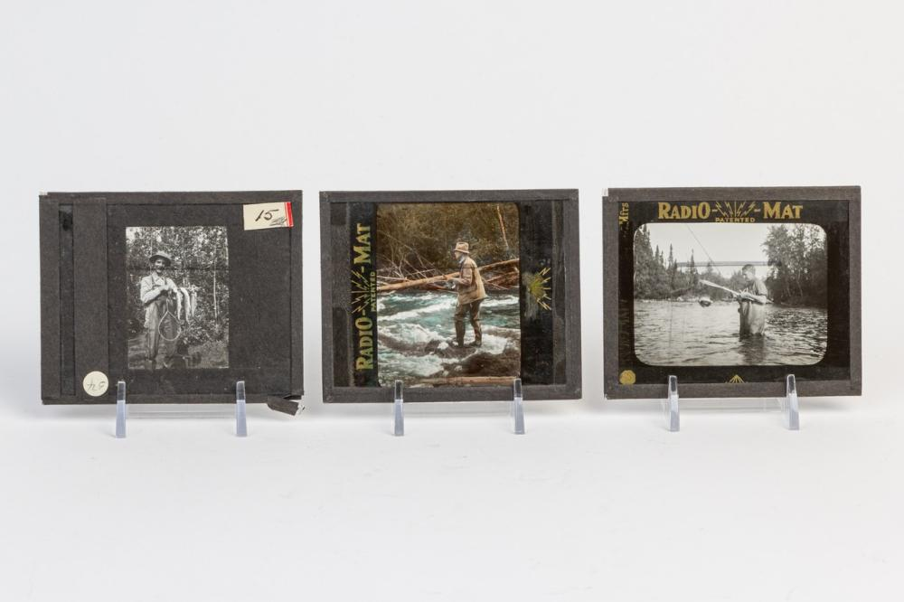 Three black and white lantern slides depicting fly fishing scenes, Radio-Mat.