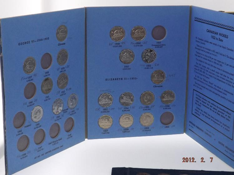 BOOK OF 1922- DATE CANADIAN NICKELS (NOT COMPLETE), BOOK OF WHEAT