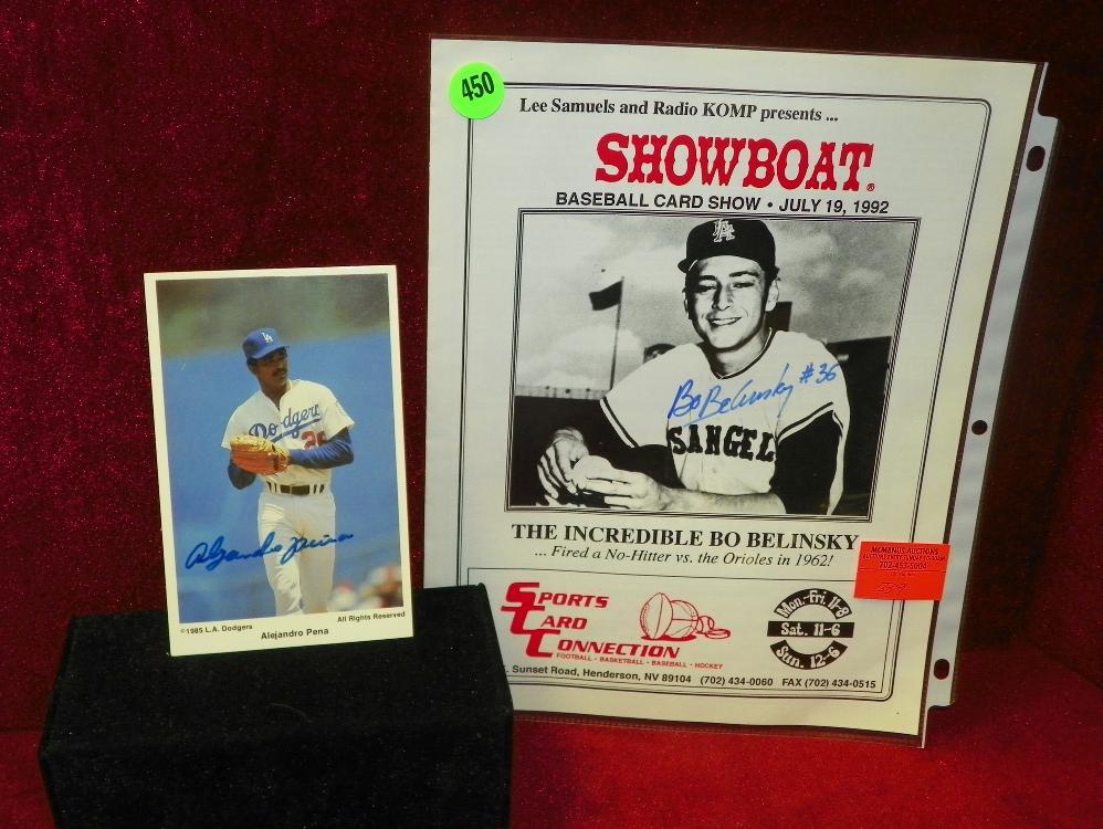 Signed 1985 La Dodgers Alejandro Pena Picture Signed Showboat