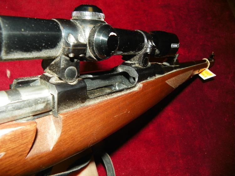 RUGER M77 243WIN BOLT ACTION MANNLICHER STOCK W/ REDFIELD SCOPE