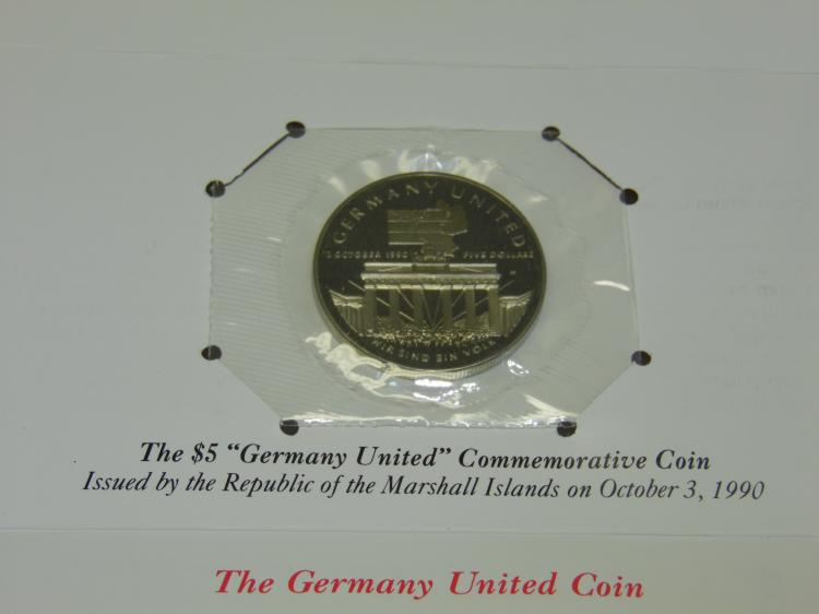 1990 Republic of Marshall Islands Germany United $5 Commemerative Coin