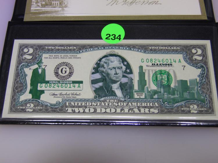 2003-A $2.00 Dollar Colorized Notes Pack of 4 World Reserve Monetary Exchange