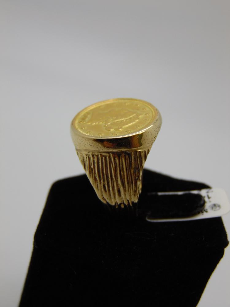 14K YELLOW GOLD RING WITH 22K GOLD 1906 LIBERTY COIN - SZ 9