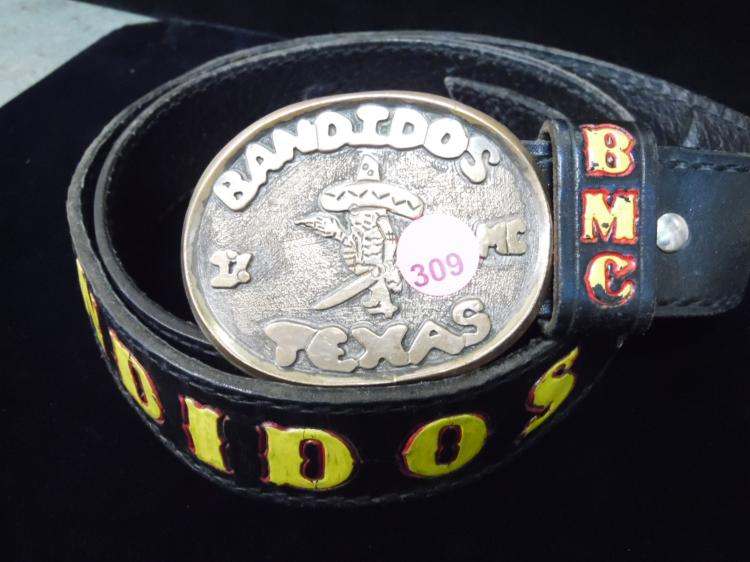 BANDIDOS TEXAS BELT & BUCKLE AND BANDIDOS WALL CLOCK