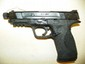 SMITH & WESSON M&P 45 STAINLESS COMES WITH CASE TWO CLIPS EXTRA BARREL EXTRA GRIPS BARREL IS THREADED FOR SILENCER