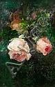 LOUSIE PERMAN Pink Roses oil 29.5cm x 20cm Note:, Louise E. Perman, Click for value