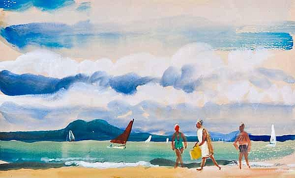 JEAN D ALEXANDER Figures on a beach with yachts