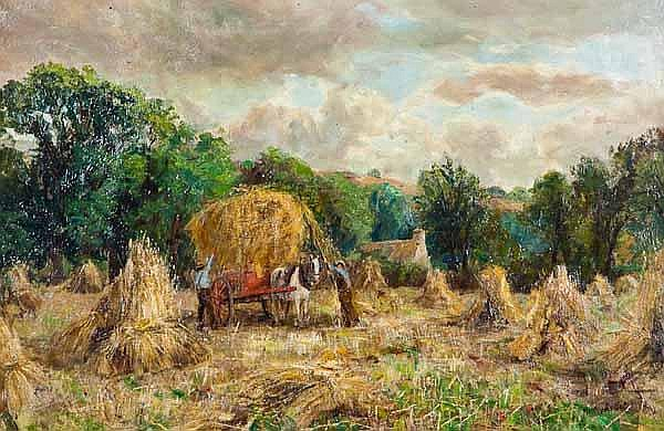 HENRY ROLLET English farmland scene, stacking hay