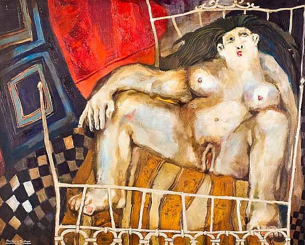 HORACIO SILVA Nude on bed oil on canvas, signed