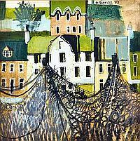 * GEORGE BIRREL Drying Nets, Autumn, Fife ink,