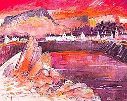 JAMES S DAVIS DA RSW Carradale watercolour 41cm x