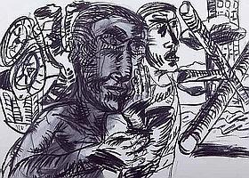 * GRAHAM DURWARD (Scottish b 1966-) Figures mixed