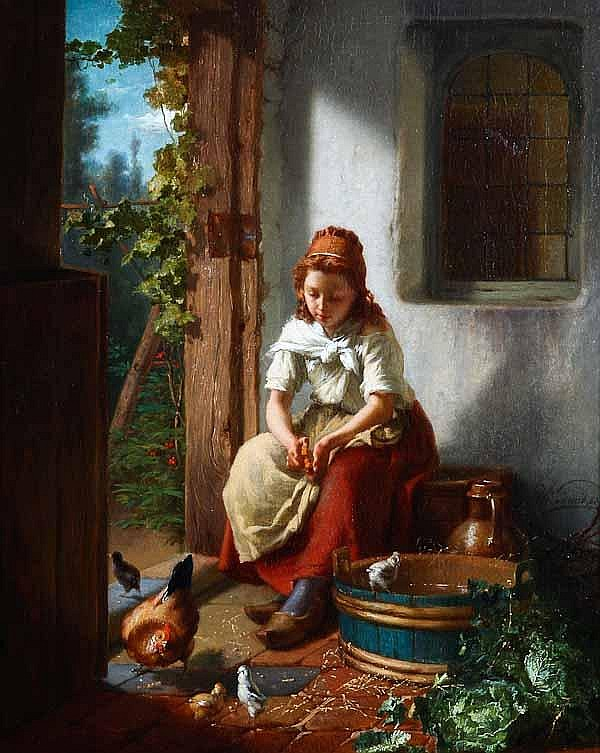 THEODORE GERARD (Belgian 1828-1895) Feeding The