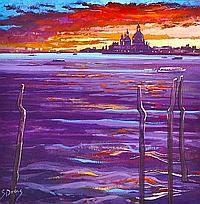 JAMES S DAVIS DA, PAI, RSW Dusk in Venice acrylic