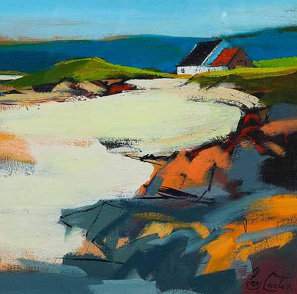 * PAM CARTER DA Red roof oil on board, signed 33cm