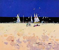 * JAMES ORR Sand, Sea and Sail, Majorca oil on