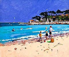* JAMES ORR Beach at Antibe (Cote d'Azure) oil on