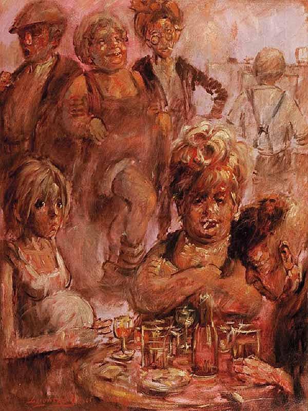 BARRY LEIGHTON JONES East London Pub Scene oil on
