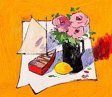 * JAMES ORR (SCOTTISH) STILL LIFE WITH RED BOAT