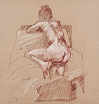 * JAMES ORR NUDE STUDY conte on paper, signed 50cm