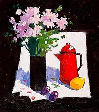 * JAMES ORR STILL LIFE WITH RED POT oil on board,