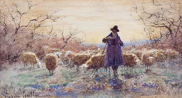 EDWARD VAN GOETHEM (British 1857 - 1924) Shepherd