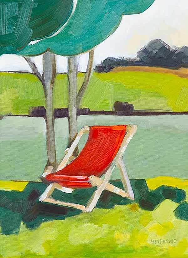 * LIN PATTULLO The Red Deck Chair oil on canvas,