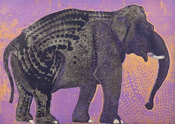 ROBERT RIVERS Elephant in Purple Garden etching