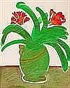 EVELYN BUCHANAN KIRKHAM RED FLOWERS, GREEN VASE