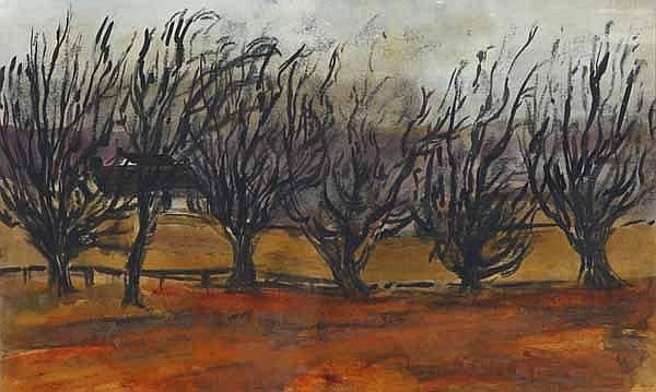 * JOAN RENTON Trees in Landscape mixed media