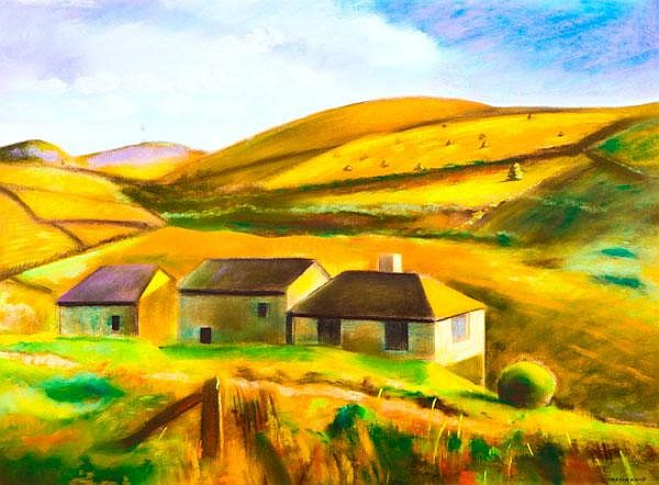 * MARTIN KANE Farm Buildings, Evening Pastel,