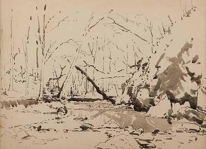 HAROLD STOREY (1888-1965) POND IN WOODLAND SCENE