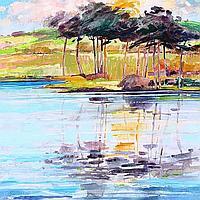 JAMES S DAVIS DA, PAI, RSW Sunset Kiss acrylic,