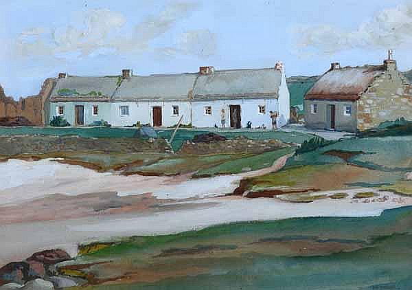 IAN STEWART COTTAGES ON THE SHORE watercolour 26cm