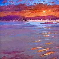 JAMES S. DAVIS CALM SUNSET -- MILLPORT acrylic,