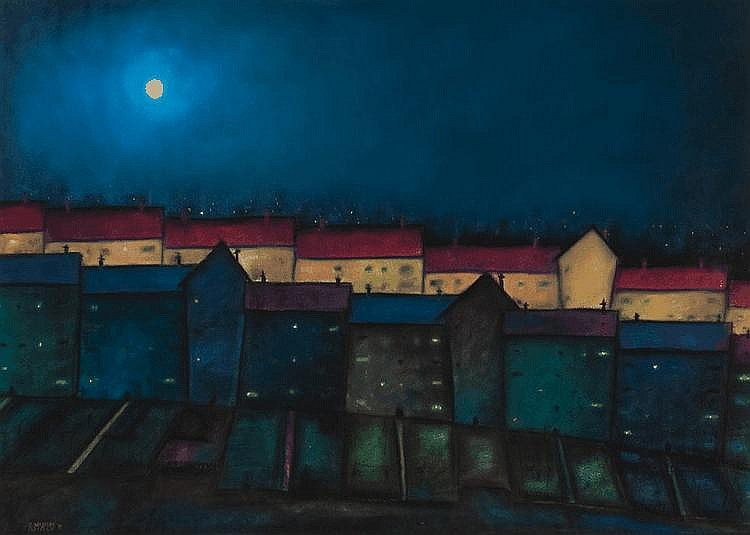 R. MACAULEY MOONLIGHT pastel, signed and dated '91
