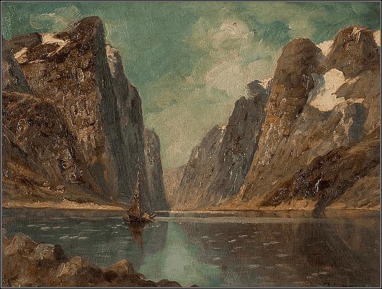 KARL KAUFMANN (GERMAN 1843 - 1902) DRONDHIEM FJORD